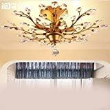 Injuicy Lighting Vintage Crystal Metal E12 Edison Branches Led Ceiling Lights Fixtures Retro Wrought Iron French Villa Ceiling Lamp Shade for Living Room Bedroom Restaurant Porch Chandelier(Bronze) For Sale