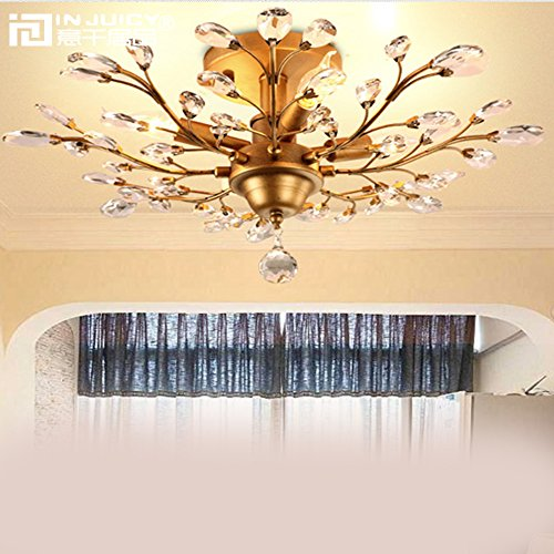 Wrought Branch Iron (Injuicy Lighting Vintage Crystal Metal E12 Edison Branches Led Ceiling Lights Fixtures Retro Wrought Iron French Villa Ceiling Lamp Shade for Living Room Bedroom Restaurant Porch Chandelier(Bronze))