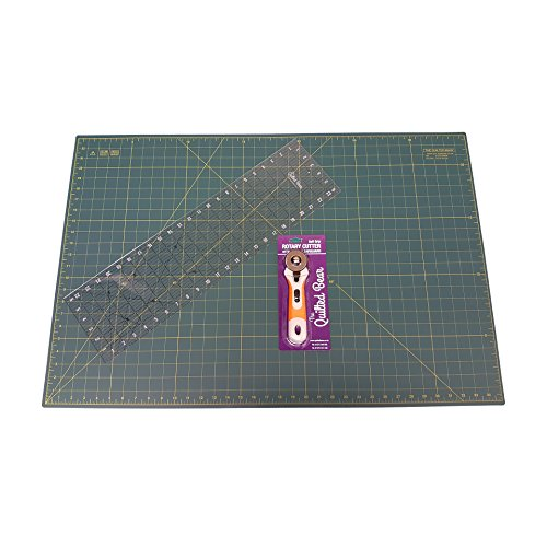 Self Healing Double Sided Quilting Cutting Mat 24'' x 36'' (60cm x 90cm) + 24'' x 6.5'' Patchwork Ruler + Soft-Grip 45mm Rotary Cutter by Quilted Bear