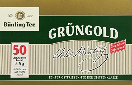 Bünting Tee Grüngold Echter Ostfriesentee 50 x 5 g Beutel, 4er Pack (4 x 250 g)