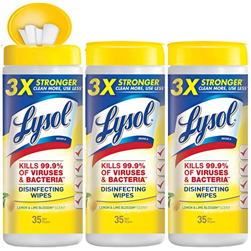 Lysol Disinfecting Wipes Value Pack, Lemon and Lime Blossom, 35 Count Canister, Pack of 3,Packaging May Vary