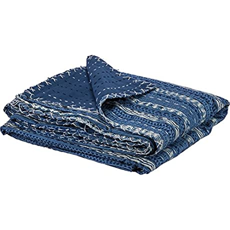 Indigo Decorative Stripes Quilt