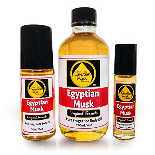 (Egyptian Musk Oil, Choose from Roll On to 0.33oz - 4oz Glass Bottle, by WagsMarket - The Egyptian Musk Factory™ (0.33oz Roll)