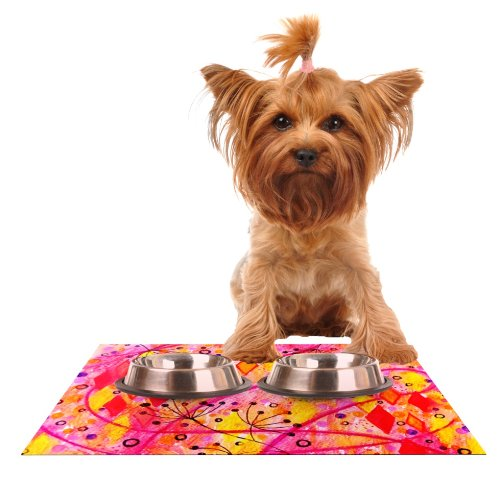 KESS InHouse Ebi Emporium Into The Fall  orange Pink Feeding Mat for Pet Bowl, 18 by 13-Inch