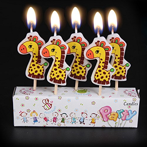 Zongheng Ecape Cartoon Animal Party Candles Adorable Giraffe Candles Handmade Craft Candles Western Cake Decoration Cake Candles 5 Candles a Set by Ecape