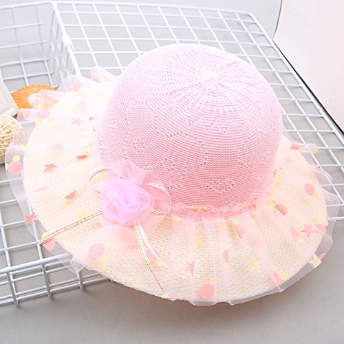(2018 summer style girls girl hat cap large brimmed princess pots dot lace mesh sun visor (beaded flowers - pink)