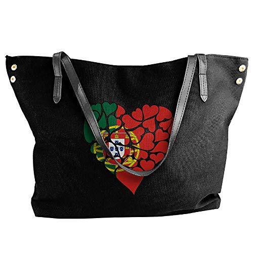 Tote Handbag Love Bag Shoulder Canvas Heart Women's Black Large Hand Portugal Flag 8EIqxa6
