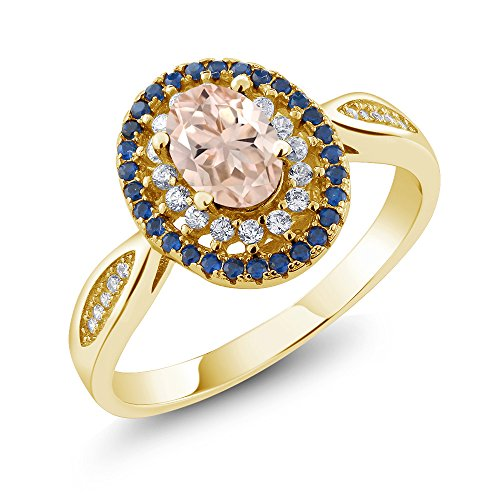 - 1.25 Ct Oval Peach Morganite 18K Yellow Gold Plated Silver Ring