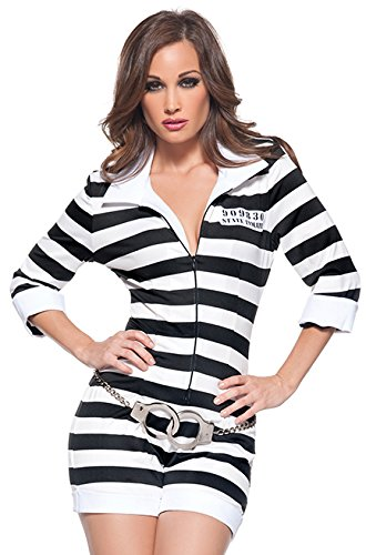 Costumes For Black And White Couple (Women's Sexy Prisoner Costume - Jail Bird, Black/White, Large)