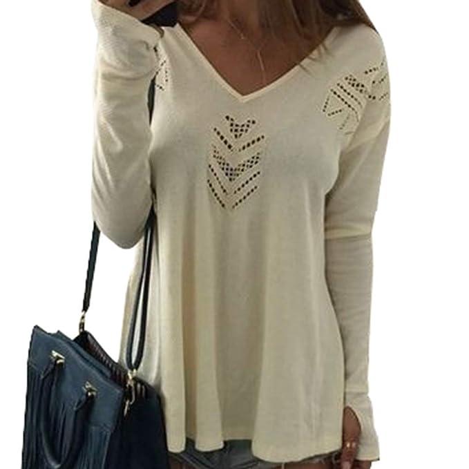 Mujer Cuello en V Camisa - Moda Manga Larga Loose Fit Blusa Color Sólido Camisetas Casual Otoño Primavera Túnica Blusa Tops S-XL: Amazon.es: Ropa y ...