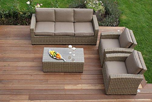 Aston 3-Sitzer-Sofa, Rattan-Gartenmöbel, Kissen Beige kaufen