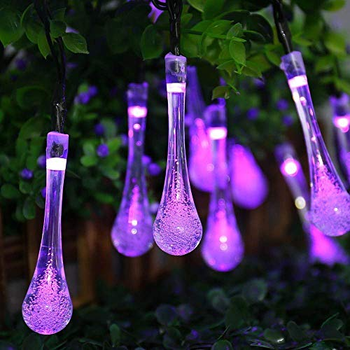 Qedertek Solar String Lights, 19.2 Ft 8 Modes 30 Water Drop LED, Solar Lights for Garden, Fence, Patio, Party and Holiday (Purple)