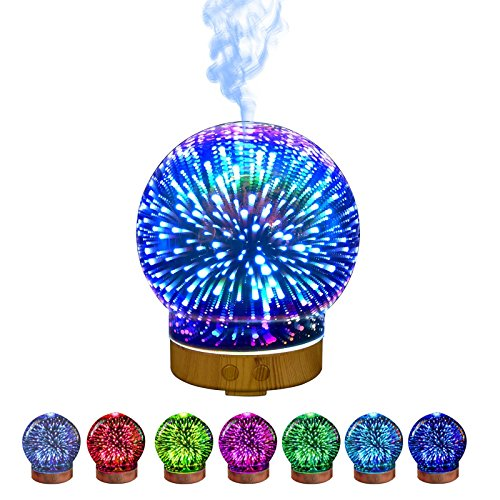 Humidifier,Spherical Shape Star Style Cool Mist Humidifier 7 Color Changing 100ML 12W 110-240V 3D Light Ultra-quiet Aromatherapy LED lighting office/Bedroom/Christmas Thanksgiving Birthday Gift by AISSION Humidifier
