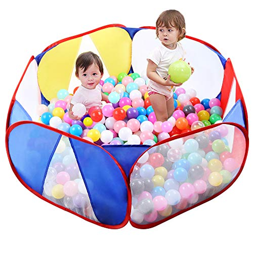 Eocolz Kids Ball Pit Tents Toddler Play Tent Baby Playpen Healthy Ocean Pool Toy for Boys Girls Infant Children with Zippered Storage Bag, Indoor Outdoor Gift, 39.4 Inch, Balls Not Included (Blue)