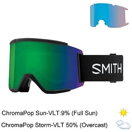 138b657108 Amazon.com   Smith Optics Squad Xl Adult Snow Goggles - Black Chromapop Sun  Green Mirror One Size   Sports   Outdoors