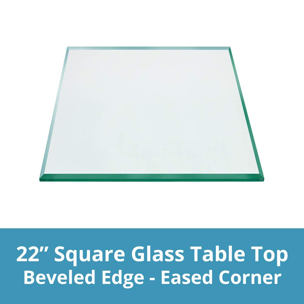 TroySys Square 1/2 Inch Thick Beveled Polished Annealed Glass Table Top, 22'' L
