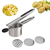 Potato Ricer, Mystery Stainless Steel Potato Masher with 3 Interchangeable Ricing Discs Ricer Press for Puree Fruit Vegetable Maker