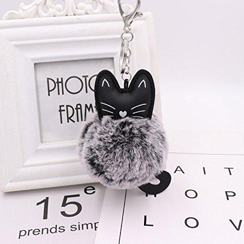 Amazon.com  Key Chains - Fluffy Black Cat Keychain Kitty Rabbit Fur Ball  Key Chain Bag Chaveiro Women Pompom Key Ring Holder Car Pendant Jewelry -  by YPT ... 8582e3cc2339f