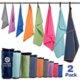 "HOEAAS 2 Pack Microfiber Travel &Sports &Beach Towel-XXL(72 x32""+24 x 12"")-Lightweight, Compact, Super Absorbent, Fast Dry for Outdoor, Yoga, Camping,Gym+Buckled Carry Bag(XXL, Grey)"