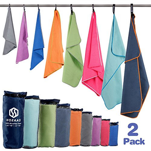 "(HOEAAS 2 Pack Microfiber Travel & Sports & Beach Towel-XXL(72 x32""+24 x 12"")-Lightweight,Compact,Super Absorbent,Fast Dry for Outdoor, Yoga, Camping,Gym+Buckled Carry Bag(XXL, Mint))"