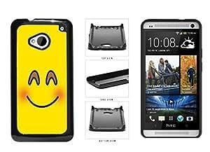 Bright Yellow Blushing Smiley Face Plastic Phone Case Back Cover HTC One M7 Kimberly Kurzendoerfer