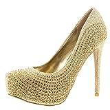 Viva Womens Evening Platforms High Heels Stiletto Diamante Party Court Shoes - Gold - US9/EU40 - KL0116