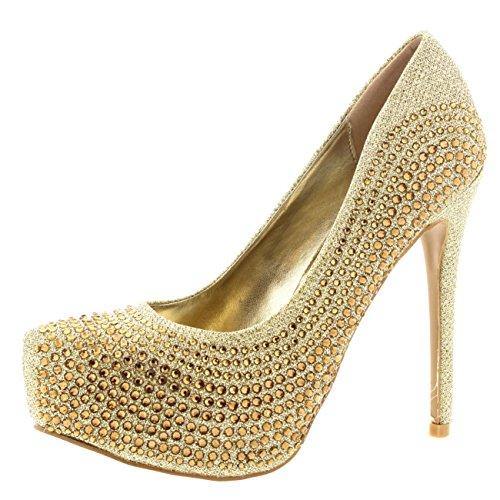Heel Gold Evening Prom Shoes (Womens Evening Platforms High Heels Stiletto Diamante Party Court Shoes - Gold - US9/EU40 - KL0116)