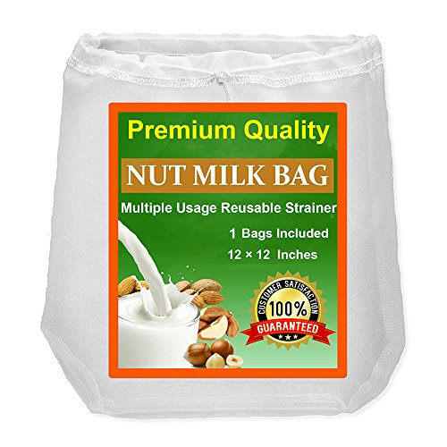 Nut Milk Bag, Upgraded Almond Milk Bag, One of the Best Food Strainer, No Harmful Chemical, Multiple Usage and Reusable with Strong Fine Mesh Nylon Cheesecloth, a Perfect Choice for Almond Mil