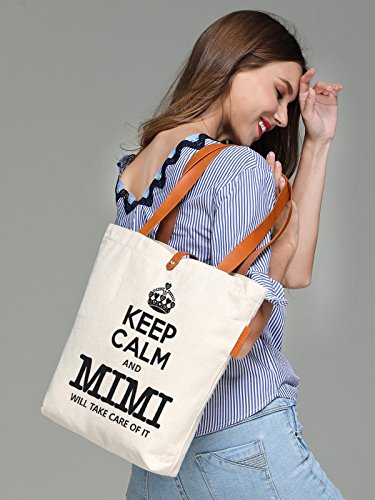 So'each Women's Keep Calm Letters Graphic Top Handle Canvas Tote Shoulder Bag