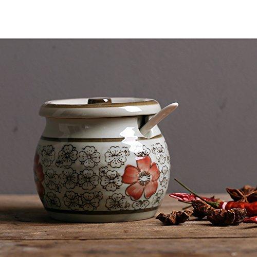 Porcelain antique japanese seasoning jar Creative kitchen cruet Salt shaker Sugar bowl Pepper storage tank Ceramic spice jar-G