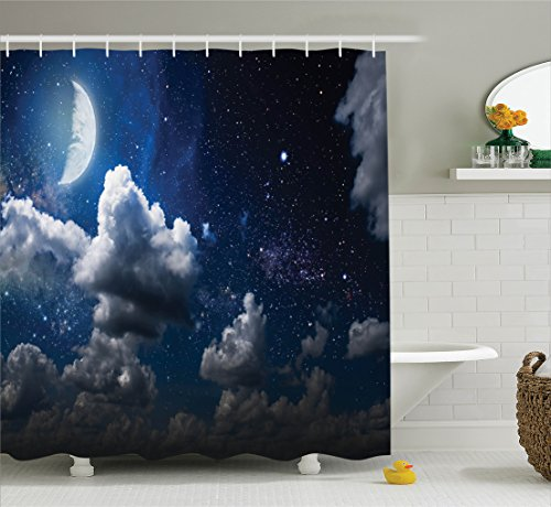 (Ambesonne Apartment Decor Shower Curtain Set, Celestial Solar Night Scene Stars Moon and Clouds Heaven Place in Cosmos Theme, Bathroom Accessories, 75 Inches Long, Dark Blue White)