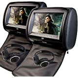 9 Inch Car Headrest Video Player Dual Screen DVD Player Support USB/SD/IR/FM Transmitter/32 Bit Games+Free 2 PCS IR Headphones+Wireless Remote Control