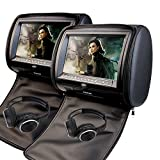 9 Inch Car Headrest Video Player Dual Screen DVD Player Support USB/SD/IR/FM Transmitter/32 Bit Games+Free 2 PCS IR Headphones+Wireless Remote Control