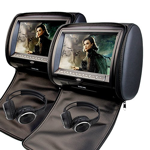 9 Inch Car Headrest Video Player Dual Screen DVD Player Support USB/SD/IR/FM Transmitter/32 Bit Games+Free 2 PCS IR Headphones+Wireless Remote Control by EinCar