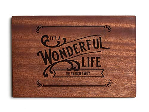 Personalized Christmas Cutting Board, Kitchen Gift for Couples and Family (10 x 15 Mahogany Rectangular, It's a Wonderful Life Design)