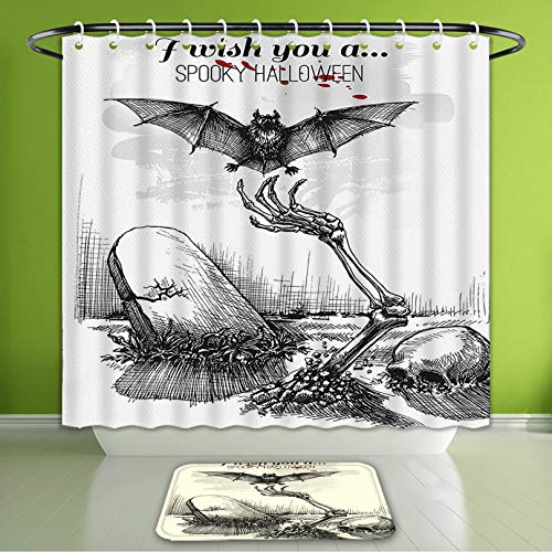 Waterproof Shower Curtain and Bath Rug Set Halloween Decorations Dead Skull Zombie Out of Grave and Flying Bat Hand Drawn Style Spooky Pic Bath Curtain and Doormat Suit for Bathroom 66