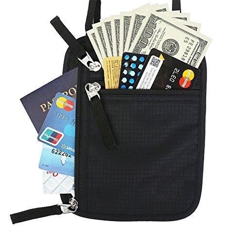 Hrph Mode Portefeuille de Passeport Voyage Ext/érieur Noir Sac /à Main Pochette Tour de Cou Pour Cartes Monnaie Passport T/él/éphone Documents