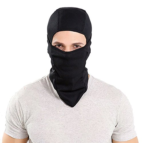 GANWAY Winter Ski Balaclava Cap Women Outdoor Sports Polyester Solid Riding Cycling Motorcycle Mask Tactical Protective Ventilate Men Hat (black)