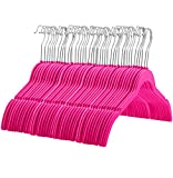 ZOBER 60 Pack, Premium Quality Space Saving Velvet Shirt Hangers Strong and Durable with 360 Degree Chrome Swivel Hook - Non Slip Dress Hangers with Contoured Shoulders and Notches for Straps, Pink