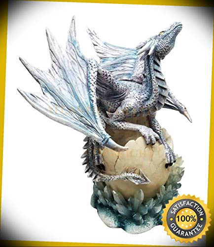 KARPP Luna Shylo Arctic Frost Dragon Emerging from Crystal Egg Figurine Dragonling Perfect Indoor Collectible Figurines