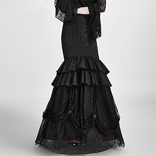Kleid Punk Vintage Wrap Rock bestickt en Abnehmbare Schwarz Rock Gothic 6 Weat Gr Frauen Zwei Langarm fRA7xfg