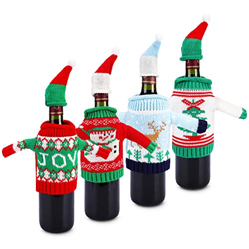 Knitted Sweater Ornaments - Konsait Ugly Sweater Christmas Party Kit, Knitted Christmas Wine Bottle Cover&Toppers for Beer Water Bottles Ornament for Xmas Christmas Party Favors Supplies Table Decoration Decor (4pack)