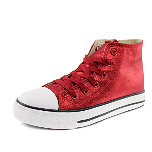 Hawkwell High-top Lace-up Zipper Sneakers(Toddler/Little Kid/Big Kid),Red PU,8.5 M US