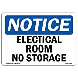 OSHA Notice Sign - Electrical Room No Storage | Choose from: Aluminum, Rigid Plastic Or Vinyl Label Decal | Protect Your Business, Construction Site, Warehouse & Shop Area |  Made in The USA