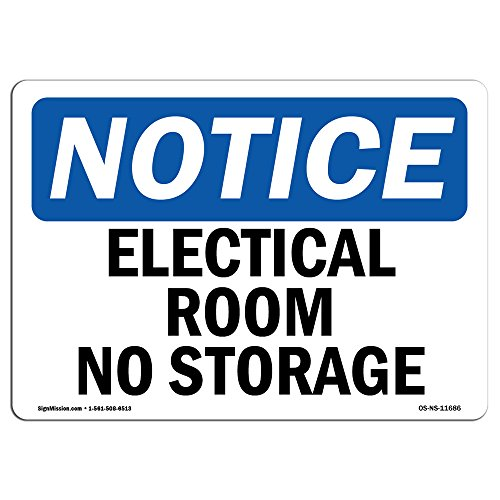 OSHA Notice Sign - Electrical Room No Storage | Choose from: Aluminum, Rigid Plastic Or Vinyl Label Decal | Protect Your Business, Construction Site, Warehouse & Shop Area | Made in The USA from SignMission
