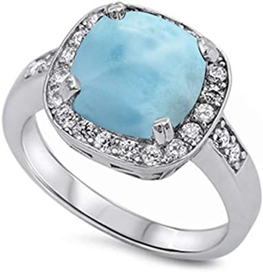 .925 Sterling Silver Halo Ring With Cushion-Cut Blue Cz Sizes 5-10
