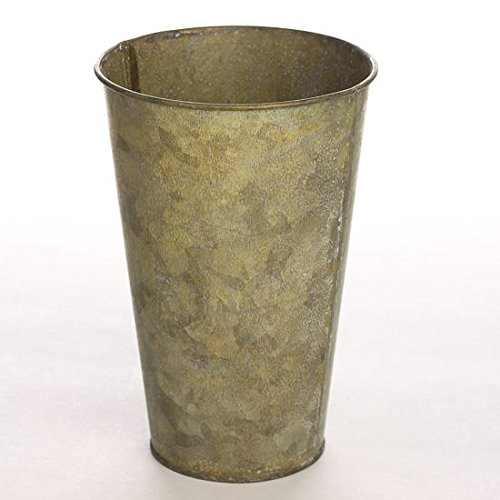 Pair of Shabby Galvanized Metal French Flower Buckets for Arranging, Crafting and Event Planning