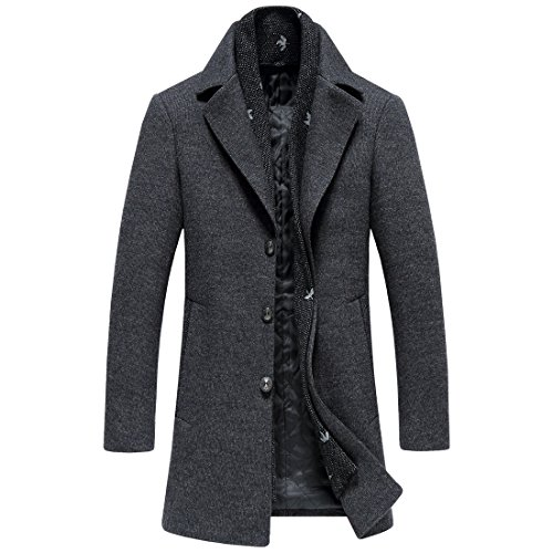 Men's Wool Long Trench Coat Winter Wool Blends Tweed Jackets Warm With Detachable Scarf (L, 8729GREY) by SUNNY SHOP