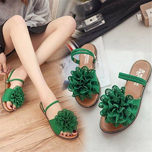 Women's Comfort Flat Black Toe Slippers White amp; Open for Heel C PU Flip Shoes Green Flops Flowers Summer 8qZxwr8St
