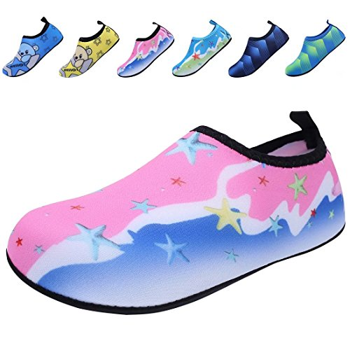 BODATU Boys Girls Swim Water Shoes Kids Quick Dry Barefoot Aqua Sock Shoes for Beach Pool